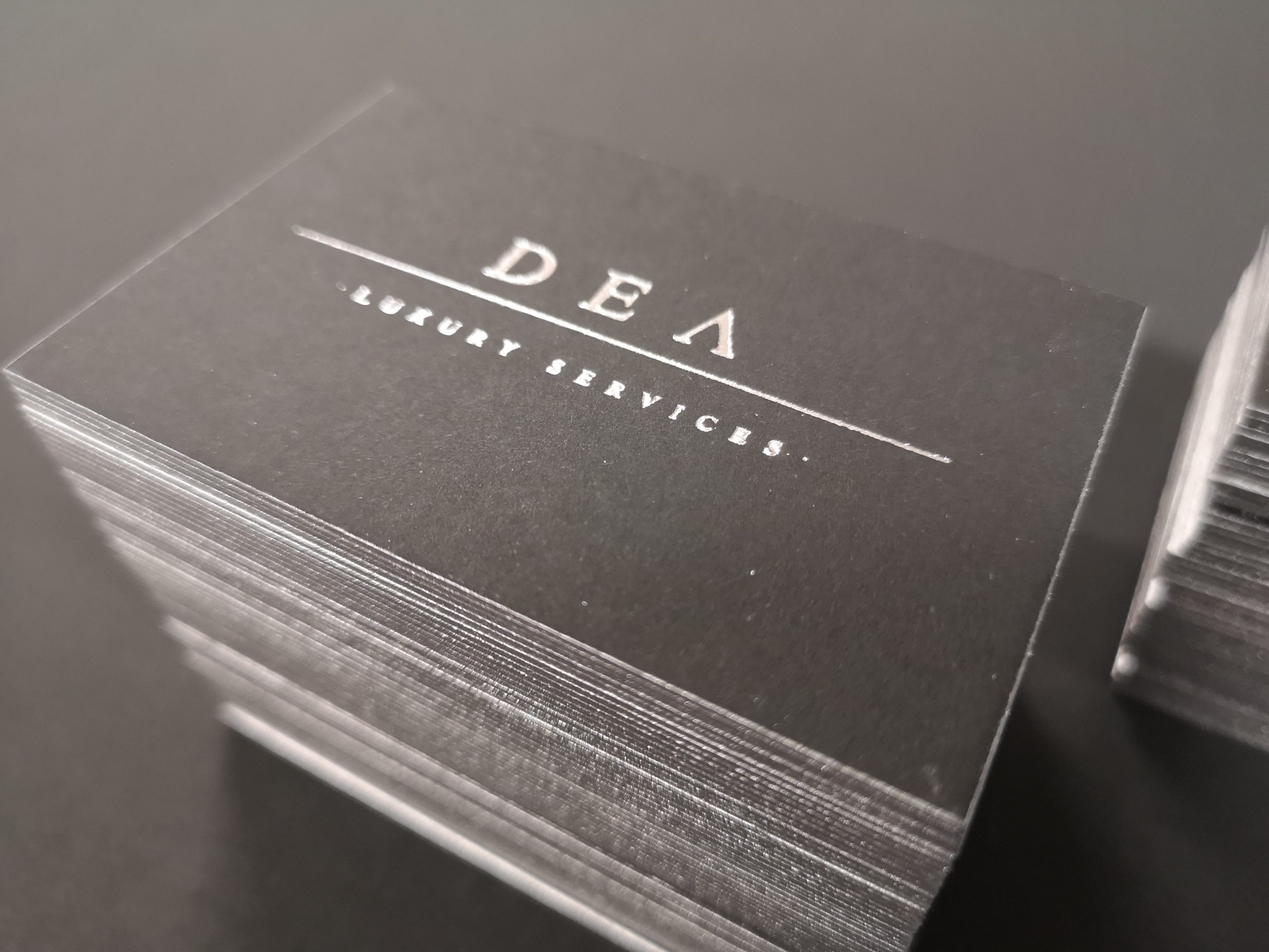 Dea Luxury Service business cards | MASTROiNCHIOSTRO [stampa a caldo hotfoil labbratura]